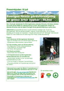 Pressinbjudan 18 juli Ärter Börringekloster Gårdsbutik