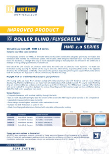 VETUS HMB 2.0 series roller blind and fly screen - Information Sheet