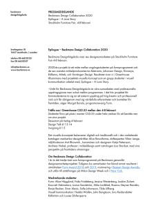 Pressmeddelande - Beckmans Design Collaboration 2020