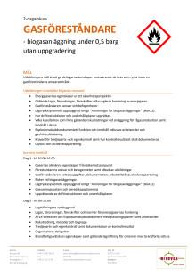 Information om gasföreståndare 2-dagars under 0,5 barg