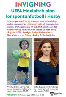 Inbjudan till invigning av ny fotbollsplan i Husby