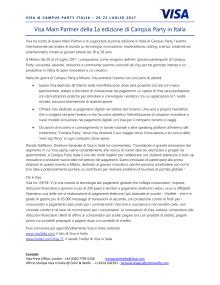 Visa Main Partner della 1a edizione di Campus Party in Italia