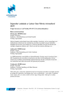 Stipendier utdelade ur Lektor Sten Fåhrés minnesfond 2019