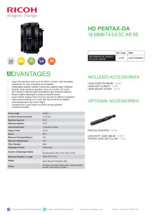 HD Pentax DA 18-50mm F/4-5,6 DC WR RE, specifikationer
