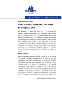 ITB Berlin: Good prospects at Maritim / Successful financial year, 2015