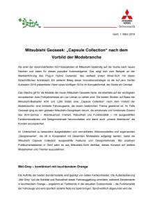 """Mitsubishi Geoseek: """"Capsule Collection"""" nach dem Vorbild der Modebranche"""