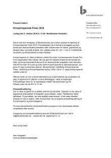 Presseinvitation Kronprinsparrets Priser 2016