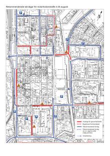 Karta över rekommenderade körvägar i Kristianstad vid ombyggnad 4-25 augusti 2013