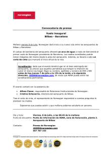 Descarga convocatoria: aeropuerto de Bilbao (mañana viernes, 8 de julio, 08.45 de la mañana).