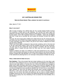 Pirelli Formula 1 press release in English, prewiew Australia