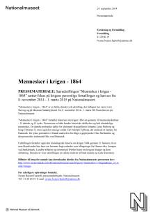 """Pressemateriale om """"Mennesker i krigen - 1864"""" - særudstilling på Nationalmuseet 8. november 2014 - 1. marts 2015"""