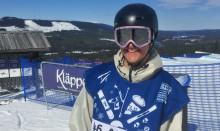 Anton Muhonen på en tionde plats i slopestylefinalen i snowboard på JVM