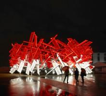Coca-Colan soiva kisapaviljonki Lontoon Olympiapuistoon
