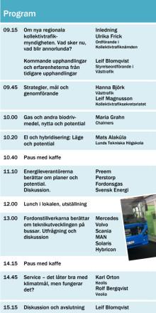 Program seminarium om bussar drivmedel och energieffektivitet