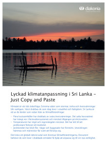 Infoblad: Lyckad klimatanpassning i Sri Lanka - Just Copy and Paste