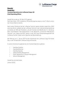 Biographie Harald Gloy - COO Lufthansa Cargo (Deutsch)