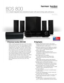 Specification sheet - harman kardon BDS 800 (English)