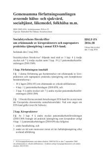 Ladda ner HSLF-FS 2016:38 Erkännande av kiropraktorers och naprapaters praktiska tjänstgöring i annat EES-land
