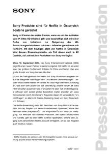 """Pressemitteilung """"Sony Produkte sind für Netflix in Österreich bestens gerüstet"""""""