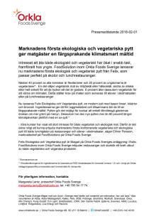Marknadens första ekologiska och vegetariska pytt ger matgäster en färgsprakande klimatsmart måltid