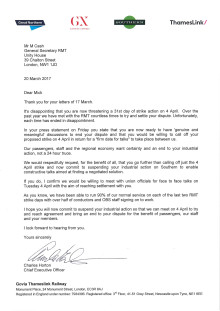 Letter to Mick Cash, Gen Sec RMT, from GTR CEO Charles Horton, 20 March 2017