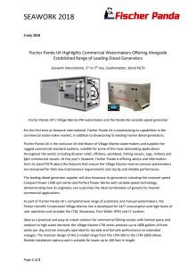 Fischer Panda UK Highlights Commercial Watermakers Offering Alongside Established Range of Leading Diesel Generators