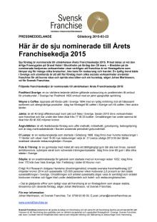 Svensk Franchise nominerar sju företag till Årets Franchisekedja 2015