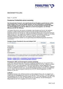 Panalpinas Profitabilität wächst zweistellig