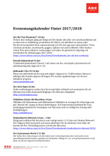 Eventkalender Vinter 2017-2018