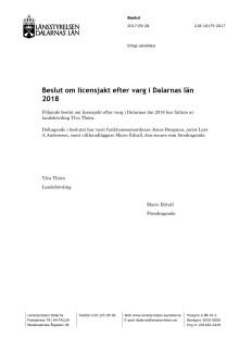 Beslut om licensjakt efter varg i Dalarnas län 2018