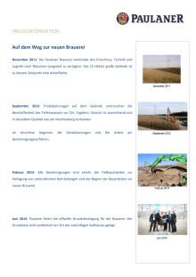 Neubau Paulaner Brauerei - Überblick Zeitablauf