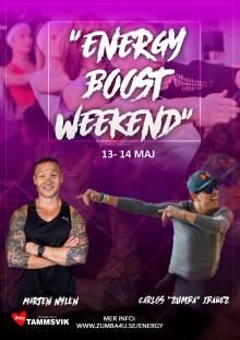 """Energy Boost Weekend  13-14 maj med Mårten Nylen  och Carlos """"Zumba"""" Ibañez"""