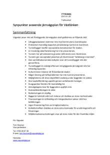 Synpunkter avseende järnvägsplanen för Västlänken