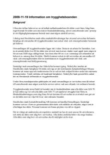 Information  om trygghetsboenden i Stockholms stad 2009-11-19