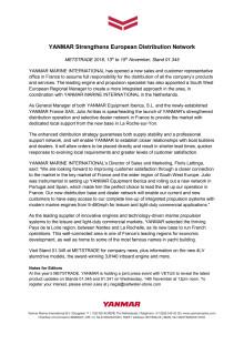YANMAR Strengthens European Distribution Network