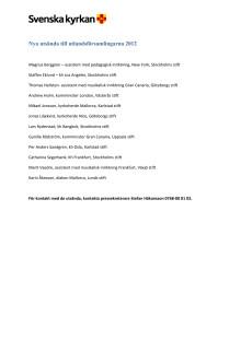 Lista över nya medarbetare i utlandsförsamlingarna