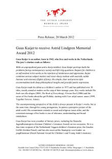 Press release: Guus Kuijer eng