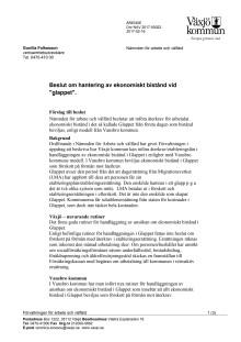 Tjänsteskrivelse Återkrav för utbetalat ekonomsikt bistånd av glappet