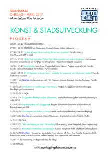 Program, seminarium på Norrköpings konstmuseum 1 mars 2017