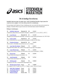 Reviderad upplaga av elitfältet i ASICS Stockholm Marathon 2015