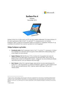 Faktaark Surface Pro 4