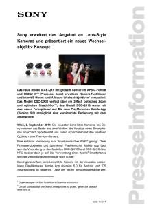 """Pressemitteilung """"Sony erweitert das Angebot an Lens-Style Kameras und präsentiert ein neues Wechselobjektiv-Konzept"""""""