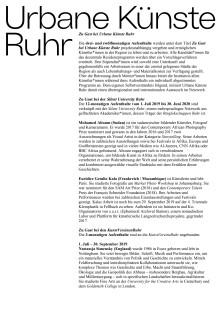 Zu Gast bei Urbane Künste Ruhr Resident*innen Biografien