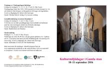 Program Kulturmiljödagar i Gamla stan 10-11 september 2016