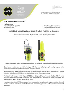 ACR Electronics Highlights Safety Product Portfolio at Seawork