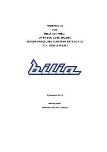 Prospekt för Bilias seniora icke säkrade obligationslån
