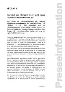 """Pressemitteilung """"Erweitert den Horizont: Sony stellt neues Vollformat-Weitwinkelzoom vor"""""""