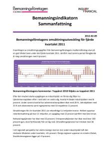 Sammanfattning av Bemanningsindikatorn  Q4 2011.