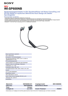 Datenblatt Kopfhörer WI-SP600N von Sony