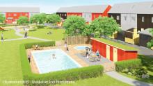 Första spadtaget för 30 st radhus med utomhuspool i Upplands Väsby